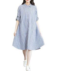 Minetom Femme Robe Retro Grande Taille Rayure Tunique Coton et Lin Longue  Chemise Manche Longue Robe 081fb337b4f8