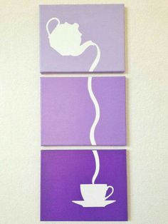 Pouring Tea Ombre Canvas Art by adapperduck on Etsy Easy Canvas Art, Simple Canvas Paintings, Small Canvas Art, Mini Canvas Art, Diy Canvas, Canvas Wall Art, Diy Wall Art, Diy Art, Kitchen Art