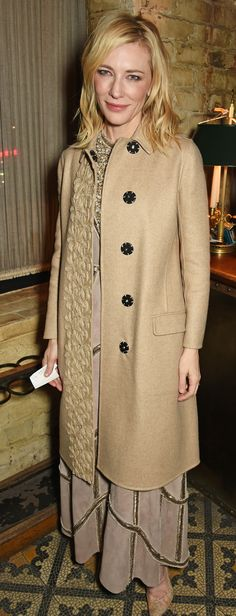 Cate Blanchett wearing Burberry outerwear to attend Burberry & Weinstein Films BAFTAs event in London