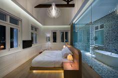 Macalister Mansion : glass wall bathroom