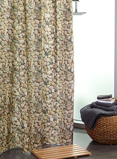 Exclusively From Simons Maison Naturalistic Style In The Bathroom With This Shower Curtain A Photo Like River Pebble Pattern For Strikingly Fashionable
