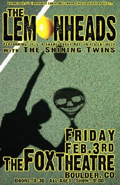 Original concert poster for The Lemonheads at The Fox Theatre in Boulder, CO in 2012.  11x17 card stock. Artwork by Mark Serlo.