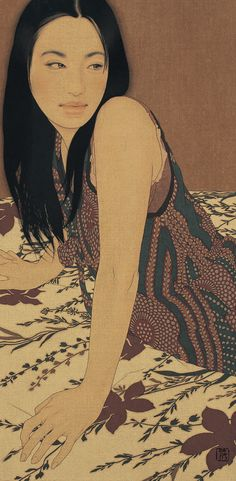 Ikenaga Yasunari - Makiko (2010) --Beautiful in every way. Love the pose, the hair, her expression and poise and of course the patterns combined.