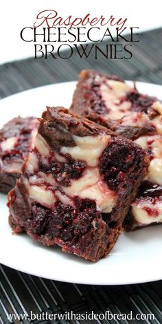 Raspberry Cheesecake Brownies~ yum!! Butter With A Side of Bread #brownies #recipe