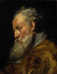 A Study of a Head (Saint Ambrose) c 1618; oil on panel; Jesuit Ceiling preparatory study for head of St Ambrose in a grand altarpiece - concentration on key figures; lively brushstrokes and convincing vivacity - as though from life; detailed studies of individual figures - used by master or copied by assistants on final painting; comes from St Ambrose Refusing the Emperor Theodosius Admission to the Church of Milan
