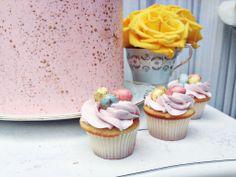 Spring & Easter desserts; mini cupcakes topped w/ mini chocolate eggs