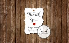 Wedding favor tags, thank you tags