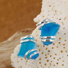 Sadie Green's Capri Sea Glass Stud Earring