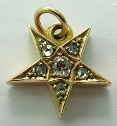 An Edwardian c1905 chunky 15ct gold star charm set with six real diamonds, a SUPER piece, 4.3g.