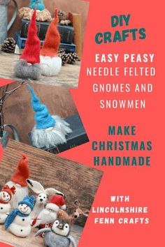 Make Christmas handmade and get stuck into an easy Christmas craft project. Needle felting is the perfect no sew craft to help you while away a few creative hours when the nights are dark and gloomy and these easy gnome and snowman tutorials are the perfect additions to your handmade Christmas decor. Christmas Craft Projects, Handmade Christmas Decorations, Easy Christmas Crafts, Easy Diy Crafts, Felt Pictures, Needle Felting Tutorials, Craft Ideas, Decor Ideas, Christmas Makes