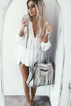 white summer outfit bohemian style