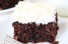 Chocolate Zucchini Coconut Cake Recipes Rich and decadent chocolate zucchini coconut cake topped with toasted coconut frosting! The BEST way to enjoy summer zucchini! Cupcakes, Cupcake Cakes, Poke Cakes, Layer Cakes, Just Desserts, Delicious Desserts, Dessert Healthy, Cake Recipes, Dessert Recipes