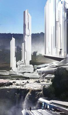 [The Ivory Outpost] Concept Art by Dmitry Vishnevsky Fantasy City, Sci Fi Fantasy, Fantasy World, Cyberpunk, Futuristic City, Futuristic Architecture, Minimalist Architecture, Futuristic Design, Landscape Concept