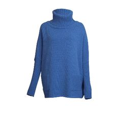 Bibico Blue Marl Adela Ovesized Jumper: The Adela oversized jumper is a firm favourite amongst our customers and cut for a loose enveloping fit. It has a ribbed turtle neck and 2 large front pockets and long slim sleeves with a ribbed cuff. Chunky & cosy! Note: we want your knits to last for ever, so there's an added bit of nylon mixed in with the cosy wool to make your chunky knits softer, pile-resistant and ever lasting.