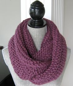 Chunky Knit Infinity Scarf   Hand Knit Cowl   by SwaddleinCloth
