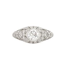 Edwardian Platinum and Diamond Ring  One old European-cut diamond ap. .65 ct., c. 1915.