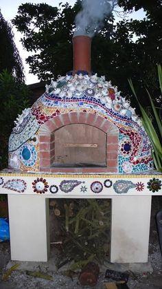 Love the mosaic... cob oven