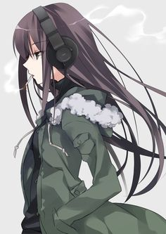 Anime picture  				906x1280 with   		original  		ech (artist)  		long hair  		single  		tall image  		brown hair  		looking away  		holding  		black eyes  		grey  		upper body  		open jacket  		mouth hold  		smoke  		hands in pockets  		smoking  		fur trim  		girl  		headphones  		jacket