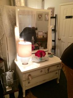 Hand painted Antique Princess Dresser with Mirror and custom knobs The Shabby Bee