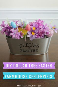 DIY Dollar Tree Easter Farmhouse Centerpiece Decor – More Than A Mom Of Three Source by fixintoteach - Dollar Tree Centerpieces, Dollar Tree Decor, Dollar Tree Crafts, Diy Osterschmuck, Diy Crafts, Fun Diy, Spring Crafts, Holiday Crafts, Holiday Decor