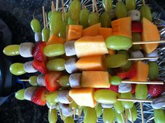 Healthy birthday snack for school. Fruit kabobs with chocolate marshmallows!