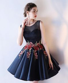 Cute dark blue lace prom dress, homecoming dress, short graduation dress #prom #dress #promdress #promdresses