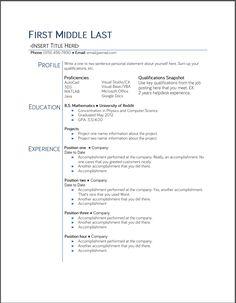Resume Template   Free Microsoft Word College Student Regarding