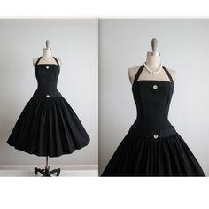50's Evening Gown // Vintage 1950's Elegant Black Rhinestone Halter Full Bombshell New Look Dress XS