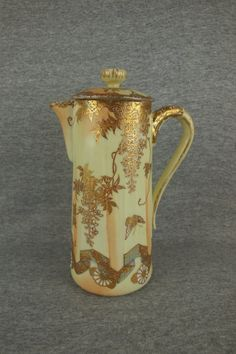 Nippon Style Chocolate Pot with Heavy Gold Decor Measures 9 1/2 Inches in Height