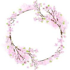Credit to the owner Frame Floral, Flower Frame, Flower Crown, Wreath Watercolor, Watercolor Flowers, Diy And Crafts, Paper Crafts, Fleur Design, Spring Pictures