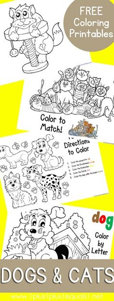 Cats and Dogs Coloring Printables ~ free from www.1plus1plus1equals1.net