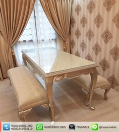Louis Dining Table and Bench Rachimawati   Rachimawati is a Louis Dining Table and Bench in vivid gold color finish that made from solid mahogany wood. It brings you the collaboration of a good quality wood lovely soft gold finish and beautiful cream faux leather fabric for the bench's upholstery. Custom color combination is also available to suit your home's theme. The design of this mahogany dining table and bench adopts Louis XV style that showed by its carving motif and curvy body…