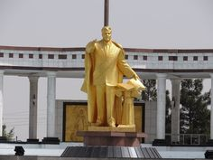 One of the countless statues of the eccentric first president of Turkmenistan