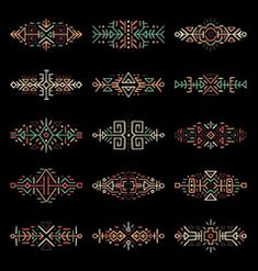 borders collection in ethnic style Mayan Symbols, Viking Symbols, Egyptian Symbols, Viking Runes, Ancient Symbols, Wiccan Tattoos, Celtic Tattoos, Slavic Tattoo, Single Needle Tattoo
