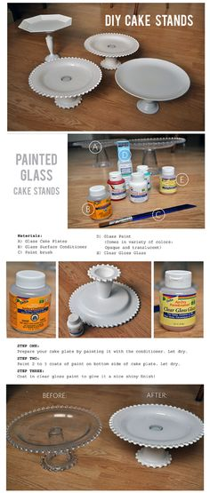 DIY Cake Stands... Add some spray paint and do some smaller tears for on top and you got a cupcake stand!