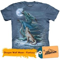 This Dragon Wolf Moon T-Shirt features a dragon and wolf in a snow covered forest howling together at the full moon in the clear sky. This Dragon Wolf Moon T-Shirt makes a great Medieval gift for you or your loved ones. Dragon Wolf, Blue Dragon, Dragon Art, Biker, Steampunk, Timberwolf, Howl At The Moon, Costumes, Animales