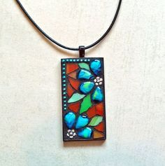 Stained glass mosaic pendant necklace with aqua blue flowers; handmade original! on Etsy, $35.00