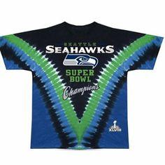 Seattle Seahawks Super Bowl XLVIII Champions Tie-Dye T-Shirt - College Navy