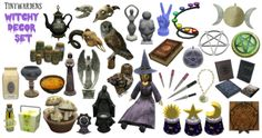 """tinywardens:"""" WITCHY DECOR SET HERE IT IS! A deco set for your witch and pagan sims with 34 new meshes and lots of recolors. I still have lots more to post so consider this your starter pack.🔮 Credits for the meshes are in the. Sims Four, Sims 4 Mm Cc, My Sims, Sims 4 Mods, Maxis, Dragon Time, Sims Medieval, Witch Room, Sims 4 Clutter"""