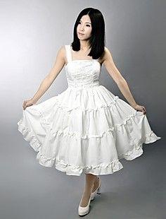 Sleeveless Tea-length Pure White Satin Classic Lolita Dress – GBP £ 41.39