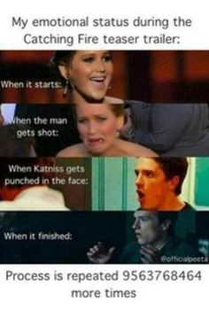 Pretty much sums up all of the emotions I feel in Catching Fire. Except for that jittery feeling I get when Katniss and Peeta kiss 😊 Hunger Games Memes, Hunger Games Fandom, The Hunger Games, Hunger Games Catching Fire, Hunger Games Trilogy, Catching Fire Funny, Katniss Everdeen, Johanna Mason, This Is A Book