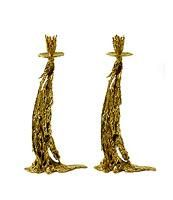 "Candlesticks  Gabriella Crespi.   ""Gold drops"" collection.   Italy 1970 ca.   Casting in bronze   9.8 x 19.7in."