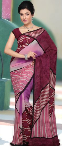 Pink, Maroon and Purple Pure Georgette Saree with Blouse @ $72.00