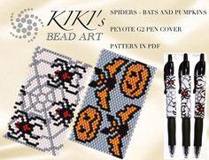 Pattern peyote pen cover patterns Spider bats pumpkins set