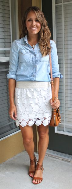 Today's Everyday Fashion: Crochet + Chambray — J's Everyday Fashion
