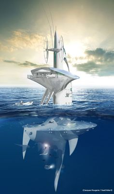 Designed by French architect Jacques Rougerie, the 170 feet (51m) tall SeaOrbiter will be the first vertical skyscraper ship of its kind. Two-thirds of the