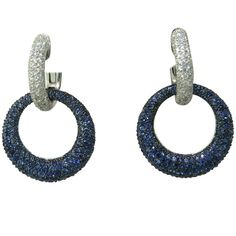 Modern Diamond Sapphire Gold Night & Day Circle Hoop Earrings OFFERED BY OAKGEM