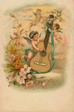 oude kaart gitaarmuziek engel