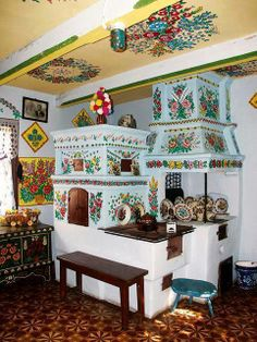 Felicja Curylowa, Decorated House, Zalipie, Poland. Felicja Curylowa passed away in 1974. In 1978 the house where she lived, was bought by the Polish Cepelia Foundation, which aims at preserving and promoting folk art. The house nowadays can be visited as a museum. All of the interior has been decorated by the artist, the ceiling in the entrance hall being her first creation, made in 1914, when she was just ten years.old.