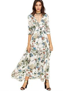 5d25ed55ddb8 Milumia Women's Button Up Split Floral Print Flowy Party Maxi Dress at Amazon  Women's Clothing store